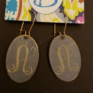 Initial Letter A dangling metal earings